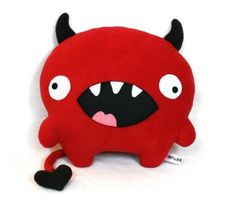 Love Devil valentine sewing pattern plush toy PDF by DIYFluffies Sewing Stuffed Animals, Cute Stuffed Animals, Stuffed Animal Patterns, Monster Party, Owl Sewing Patterns, Fun Patterns, Plush Pattern, Bat Pattern, Sewing Toys