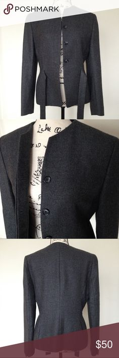 Dark Grey Wool Jacket Dark grey 100% wool jacket. Brand - Natan. Made in Belgium. Size - European 40, fits M.  Excellent condition. Matching wool skirt is available as a separate listing. Bundle for automatic 15% discount. Natan Jackets & Coats