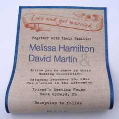 Rustic wedding invitations with banner on by ArtfulBeginnings, $100.00