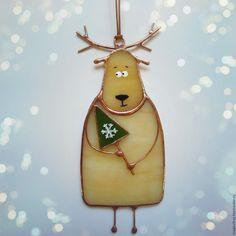 """Купить Витражная подвеска, новогодняя игрушка """"Олень с ёлочкой."""" Новый год - разноцветный, олень"""