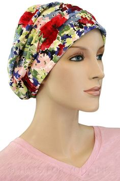 671ed4aa762  19.50 - Red Flower Shirred Cap -   hatsforyou.net  cancer  chemo