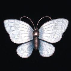 Butterfly Pin Vintage Sterling Silver Enamel Volmer Bahner Norway