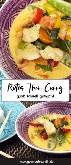 Rotes Thai-Curry mit Hähnchen und Zuckerschoten Quick and easy recipe for red Thai curry with chicken and sugar snap peas Asian Food Recipes, Lunch Recipes, Chicken Recipes, Dinner Recipes, Ethnic Recipes, Recipe Chicken, Meal Recipes, Fish Recipes, Asia Food