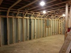 Clever way to add a basement soffit without taking up more space than needed.