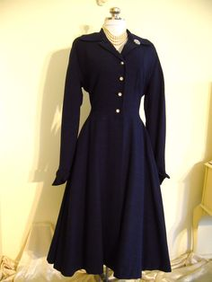 Couture 1950s Grace Kelly Style Blue Wool Rhinestone PRINCESS COAT - Fit And Flare Full Circle Bombshell Deco Glamour Pinup Pink Lining. $279.00, via Etsy.