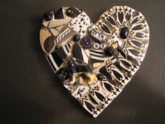 """K9"" mosaic heart plaque with tiny German shepherd figurine, mosaic art"