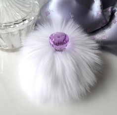 Powder Puff white and lavender purple by BonnyBubbles, $20.95 #puff #vanity