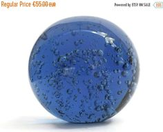 ON SALE Blue Glass Paperweight with Bubble by LeBonheurDuJour
