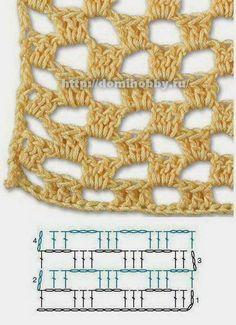 ao with / Crochet stitch pattern diagram for beginners market bag Crochet Diagram, Crochet Motif, Free Crochet, Crochet Stitches Patterns, Stitch Patterns, Crochet Market Bag, Crochet Coat, Unique Crochet, Fabric Yarn