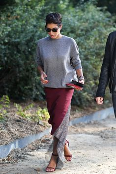 I love everything about this. the haircut, the sunglasses, the comfy grey top, the simple sandals, the pop of burgundy.....everything.