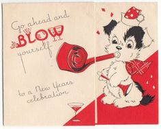 Vintage Dog with Party Blower Happy New Year Greeting Card