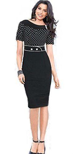 Abito tubino pois polka nero vintage anni 50 pin up elegante vestito dress pencil cerimonia sera (L 46 IT donna) Mixinni http://www.amazon.it/dp/B01A4C2LO6/ref=cm_sw_r_pi_dp_tHDWwb1QWQ5Q4