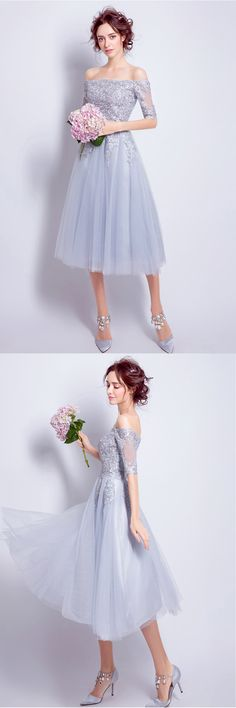 Gray lace off shoulder tea length homecoming dress with mid sleeves