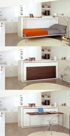 Twin size bed that folds into a the wall, and then a desk can fold out from it. Could easily fit 3 of these in a small room.