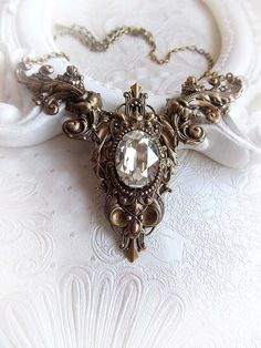 Victorian necklace renaissance bridal necklace by MidnightVision Renaissance Jewelry, Medieval Jewelry, Victorian Jewelry, Gothic Jewelry, Vintage Jewelry, Crystal Jewelry, Crystal Necklace, Bride Necklace, Baroque