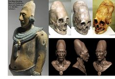 Mayan figure, Paracas skulls, and Paracas digital reconstructions.