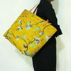 Damayanti Yellow Batik Leather Tote