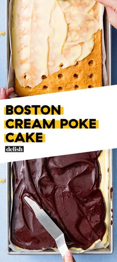 Boston Cream Poke Cake's secret ingredient: instant vanilla pudding mix! Poke Cakes, Poke Cake Recipes, Dessert Recipes, Delicious Cake Recipes, Just Desserts, Instant Pudding, Boston Cream Poke Cake, Boston Cream Cupcakes, Vanilla Pudding Mix