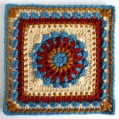 Floral Dimension Afghan Square, free pattern by Laurie Dale. Incorporates puff stitches, clusters & scallops for a fairly solid square. Crochet Afghans, Crochet Squares Afghan, Crochet Motifs, Crochet Blocks, Granny Square Crochet Pattern, Afghan Crochet Patterns, Crochet Granny, Crochet Yarn, Crochet Stitches