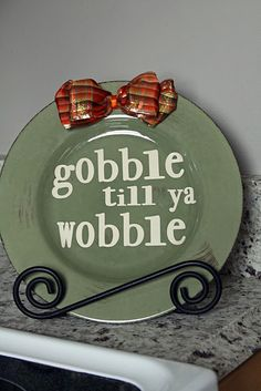 gobble till ya wobble- use dollar tree plates. Thanksgiving Crafts, Thanksgiving Decorations, Fall Crafts, Holiday Crafts, Holiday Fun, Holiday Ideas, Happy Thanksgiving, Diy Crafts, Festive