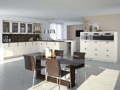 Brillant blanc magnifique cuisine avec accents bois for Meubles lambermont