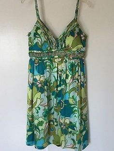 Green Mod Floral Silk Empire Waist OC OLEG CASINO Cocktail Jeweled Dress Sz 12