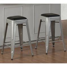 Tabouret 24-inch Padded Metal Counter Stool (set of 2) | Overstock.com Shopping - Great Deals on Bar Stools Bar Furniture, Furniture Deals, Metal Counter Stools, Island Stools, Dining Room Bar, Best Dining, Bar Chairs, Kitchen, Modern