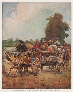 Ostpreußische Flüchtlinge auf dem Wege in die Heimat Nach der Natur gemalt von G. Wagenführ