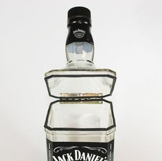 Jack Daniel's Hinged Canister, Upcycled from Jack Daniel's Bottle