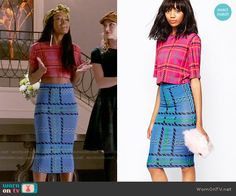 Zayday's pink plaid crop top and blue plaid tube skirt on Scream Queens.  Outfit Details: http://wornontv.net/54769/ #ScreamQueens