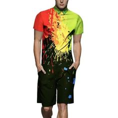 OTW Mens Lapel Short Sleeve Floral Embroidery Plus Size Slim T-Shirt Tee