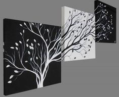 easy canvas paintings for beginners step by step Easy Canvas Painting, Painting & Drawing, Canvas Wall Art, Diy Wall Art, Diy Art, Black And White Painting, Acrylic Art, Tree Art, Art Drawings