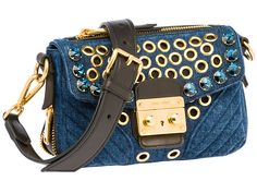 Miu Miu Matelassé Denim Bandoleer Biker Bag Crystal Stud Embellishment Grommets - Miuccia Prada Milan Italy - 2014 Spring Summer Womens Fashion Made In Denim Jeans Style Finds