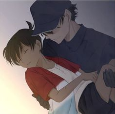 """Kaito Kid is taking Conan Edogawa (without permission) to Singapore in the Detective Conan movie """"The Fist of the Blue Sapphire"""". You couldn't just send him an invitation, Kaito? Detective Conan Ran, Detective Conan Shinichi, Conan Movie, Detektif Conan, Ran And Shinichi, Kudo Shinichi, Conan Comics, Magic For Kids, Kaito Kuroba"""