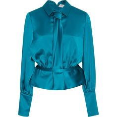 Carolina Herrera     Long Sleeve Blouse (1 490 345 LBP) ❤ liked on Polyvore featuring tops, blouses, blue, carolina herrera top, long sleeve peplum blouse, carolina herrera, blue peplum top and blue blouse
