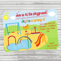 Playground themed birthday party invitations printable design splash pad playground park themed digital birthday invitation by sandinmyshoesdesigns on etsy filmwisefo Gallery