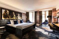 This elegant hotel was built in 1900 and is officially listed as a monument. Hard Rock Hotel, Famous Art, Interior Walls, Stained Glass Windows, Studio, Art Nouveau, Hotel Amsterdam, Bedroom, American