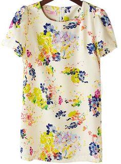 Apricot Short Sleeve Florals Print Zipper Back Blouse
