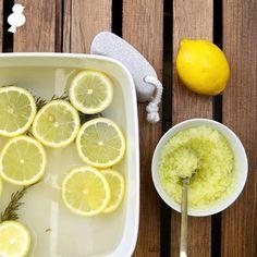 DIY: Rosemary Foot Soak & Olive Oil Scrub -- Rosemary, Lemon, Epson Salt, Olive Oil and Water.