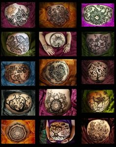 Pregnant bellies henna - I might have to try it this time, just for fun. Tattoo Henna, Henna Tattoo Designs, Henna Art, Tattoo Art, Baby Belly, Pregnancy Belly, Pregnancy Tips, Pregnancy Photos, Lotus Henna