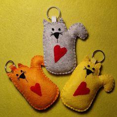Key chain cat made of felt handmade yellow cat gray cat orange cat with red heart beautiful
