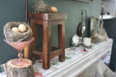 Easter decor, mantel decoration