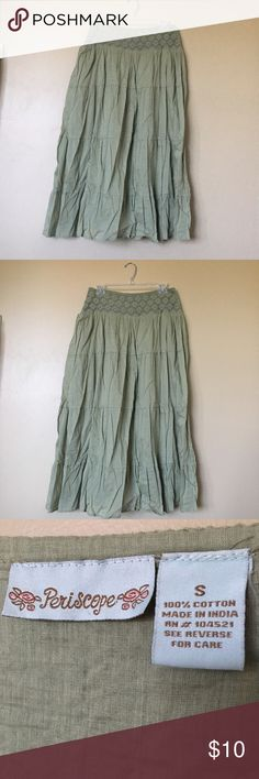 Light Green Maxi Skirt Adorable maxi skirt made of 100% cotton. Soft and flowy, perfect for everyday wear! Periscope Skirts Maxi