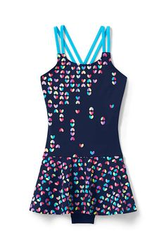 e3cbbaed52 Girls Cross Back Skirted One Piece Swimsuit from Lands' End Rompers, Tank  Tops,