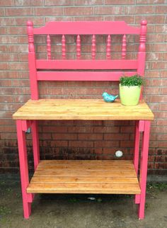 Potting bench made using a twin-sized headboard. I love how it turned out!!! This is my 1st piece of furniture to build from scratch!