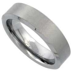 Tungsten Carbide 6 mm Flat Wedding Band Ring Satin Finished Beveled Edges, sizes 7 to 12 Sabrina Silver. $24.50