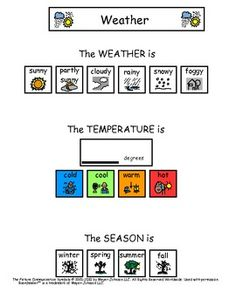 Weather worksheet for kids with autism