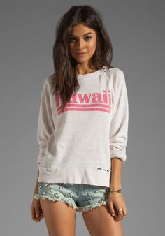 WILDFOX COUTURE Hawaiian Dream Destroyed Sweater in Strawberry Ice at Revolve Clothing - Free Shipping!