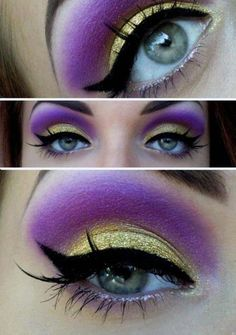 highlight under eyebrow- purple and yellow eyeshadow and black thick winged eyeliner---blue eyes