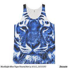 Blacklight Blue Tiger Fractal Art All-Over Print Tank Top